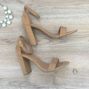 MERONA tan suede heeled sandals, size 8